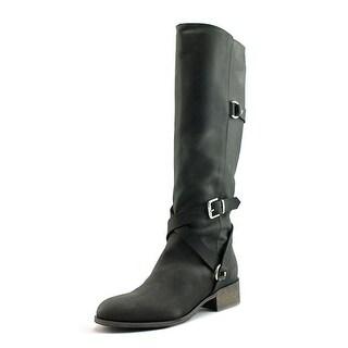 Charles David Germana Women Round Toe Leather Black Knee High Boot
