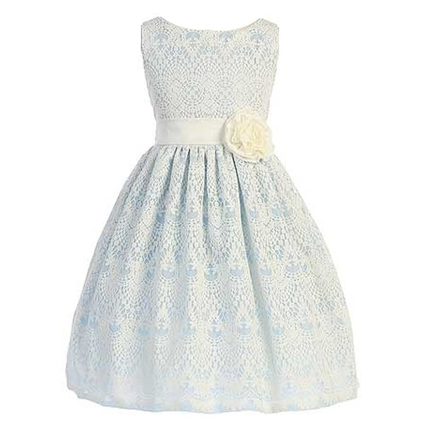 24919cd23 Shop Sweet Kids Little Girls Light Blue Vintage Lace Overlay Flower Girl  Dress 2T-6 - Free Shipping Today - Overstock - 18161773