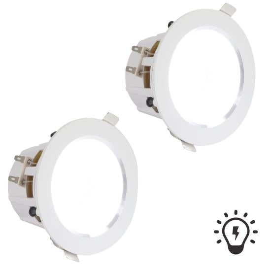 4'' Ceiling / Wall Speakers, 2-Way Aluminum Frame Speaker Pair with Built-in LED Light