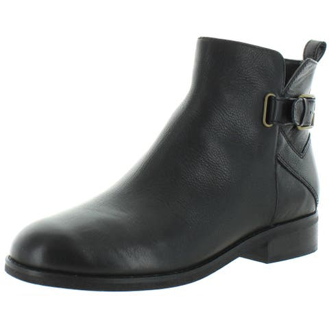 Cole Haan Womens Hollyn Ankle Boots Leather Short - Black Tumbled