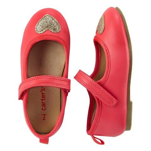 Carter's Little Girls' Mary Jane Flats, Pink, Gold Heart