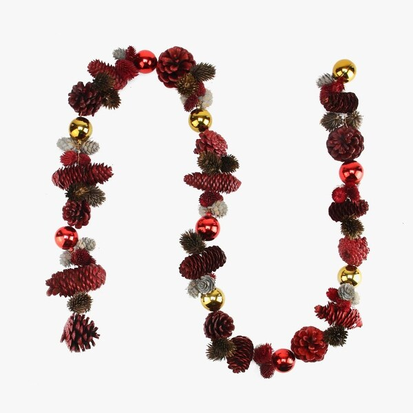 5' Decorative Red, Gray and Brown Pine Cone Artificial Christmas Garland - Unlit