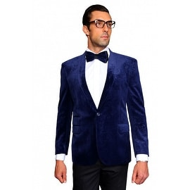 MZV-404 NAVY Men's Manzini Velvet with Shawl Collar, sport coat