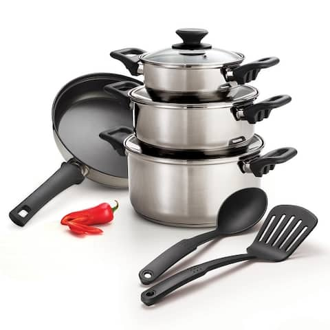 Tramontina 9 PC Cookware Set - Stainless Steel - Tri-Ply Base