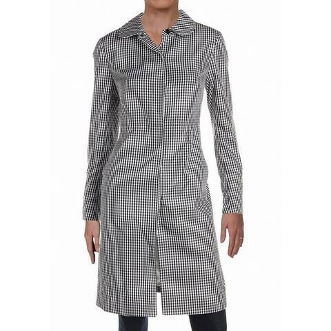 Anne Klein Womens Jacket Classic Black Size 2 Raincoat Gingham Print