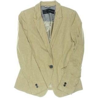 Zara Basic Womens Heathered V-Neck One-Button Blazer - S