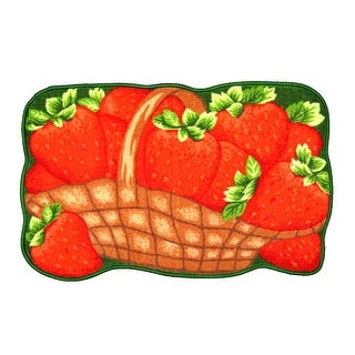 Sweet Strawberries Printed Non-Slip Kitchen Mat, 18x30 Inches