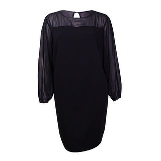 Tahari Women's Chiffon Sleeves Jersey Dress - Black