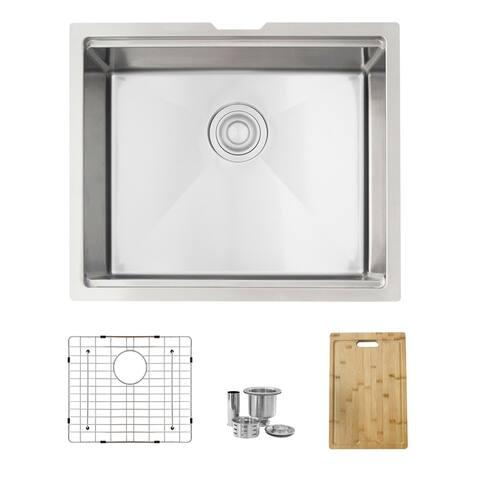 STYLISH 22 inch Workstation Single Bowl Undermount 16 Gauge Stainless Steel Kitchen Sink with Built in Accessories