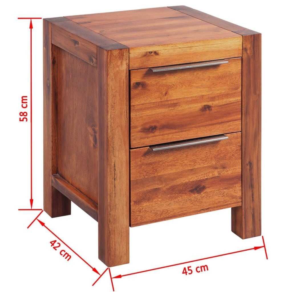 Retro Bedside Table Cabinet Chest Of Drawer Solid Acacia Wood Bedroom Nightstand
