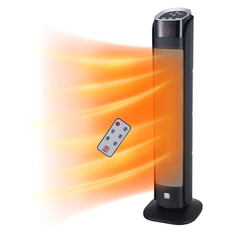 """WarmWave 30"""" Deluxe Digital Ceramic Tower Heater with Remote Control"""