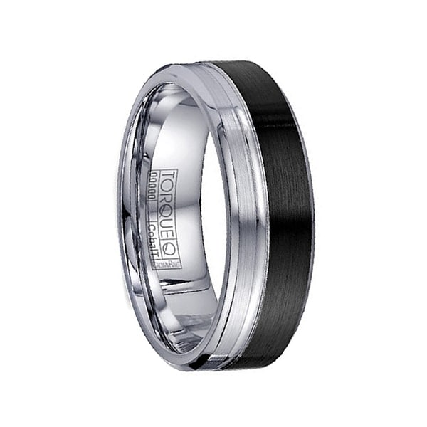 MILES Torque Two Toned Black Cobalt Wedding Band Brushed Grooved Center Design Beveled Edges by Crown Ring - 7 mm