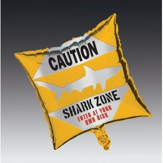 "Club Pack of 12 Shark Splash Metallic ""Shark Zone"" Foil Party Balloons"