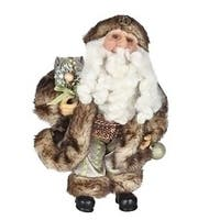 "10"" Old World Father Christmas Woodland Santa Claus in Cheetah Faux Fur Suit Figure - multi"