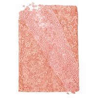 Women Triangle Shape Semi Sheer Tassels Floral Scarf Shawl Salmon