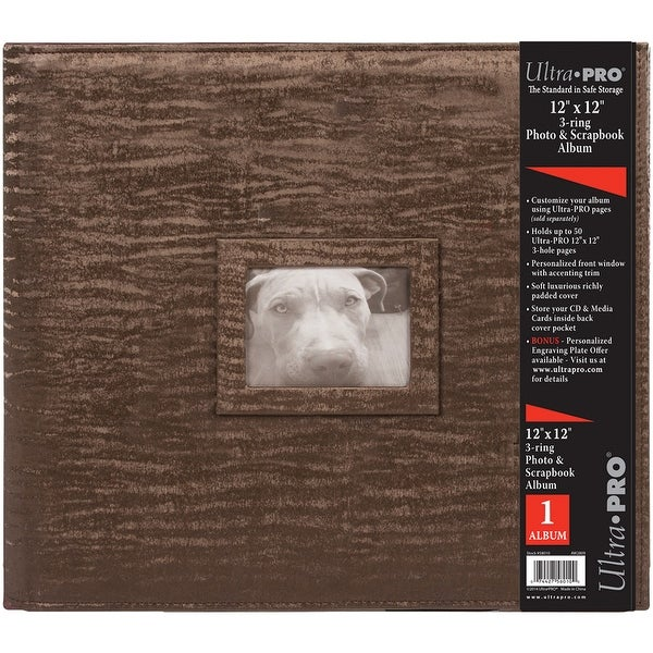 "Ultra Pro 3-Ring Photo & Scrapbook Album 12""X12""-Brown - Brown"