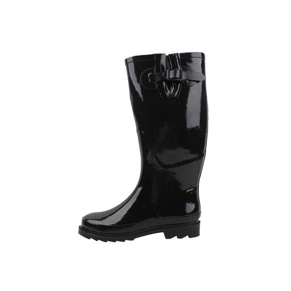 Sunville Women's Stylish Rain Boots Waterproof - Black