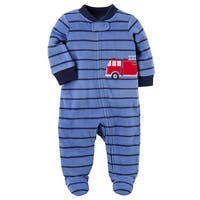 Carters Boys 9 Months Truck Fleece Pajama - Blue