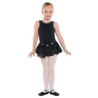 Danshuz Little Girls Black Tank Piping Skirt Ballet Leotard Size 2-14