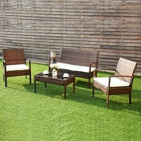 Costway 4 Pc Rattan Patio Furniture Set Garden Lawn Sofa Wicker Cushioned Seat brown