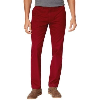 Tommy Hilfiger Custom Fit Dark Red Dot Pattern Chinos Pants 36 x 30
