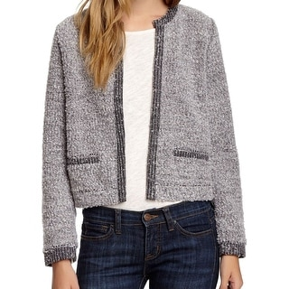 Elodie NEW Gray Women's Size Small S Open Front Boucle Knit Jacket