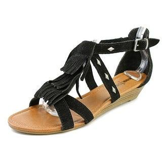 Minnetonka Merriam Women Open Toe Leather Wedge Heel