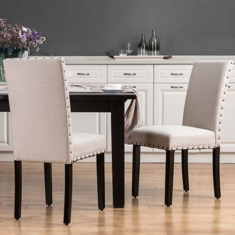 Glitzhome Set of 2 Cream White Fabric Dining Chair