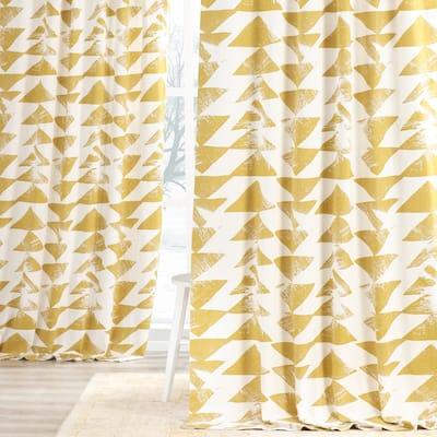 Exclusive Fabrics Triad Gold Printed Cotton Twill Curtain Panel