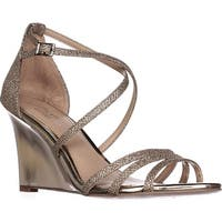Jewel Badgley Mischka Hunt Strappy Wedge Sandals, Gold Glitter