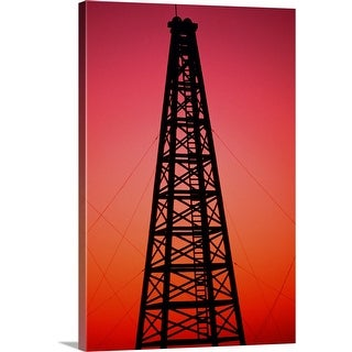 """""""Oil drilling rig at sunset"""" Canvas Wall Art"""