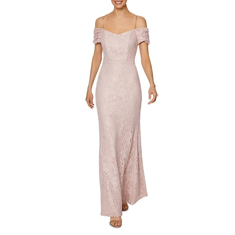 Laundry by Shelli Segal Womens Evening Dress Lace Off-The-Shoulder - Blush