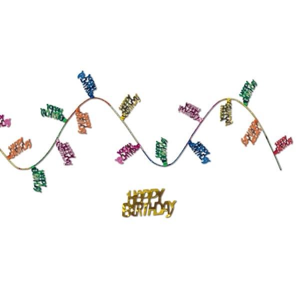 """Club Pack of 12 Fun Colorful Gleam 'N Flex Happy Birthday Garland 300"""" - green"""