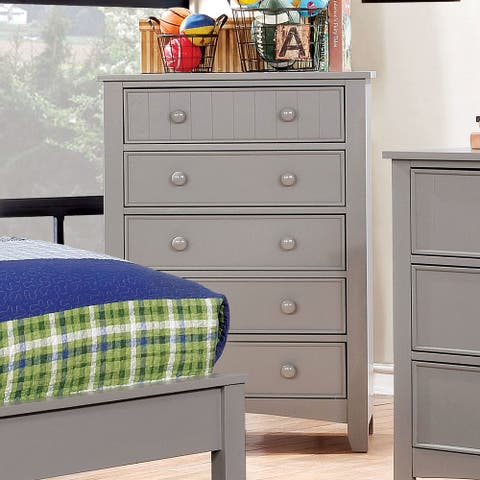 Furniture of America Deer Transitional Grey Solid Wood Youth Chest