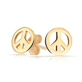 Bling Jewelry Kids Peace Sign Stud earrings Gold Plated 7mm