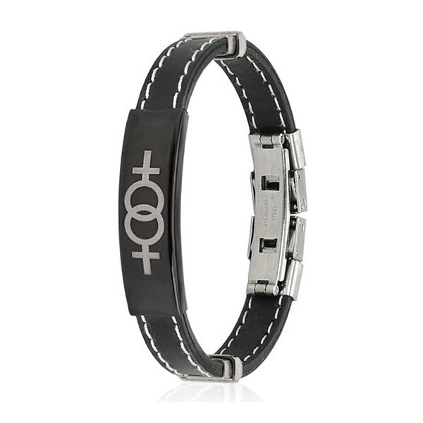 Double Female Symbol ID Plate Stitch Accent Rubber Stainless Steel Bracelet (10 mm) - 7.25 in
