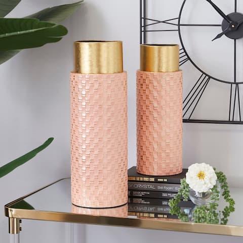 Pink Iron Contemporary Vase (Set of 2) - 6 x 6 x 18
