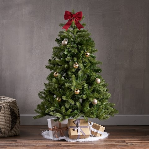 4.5-foot Mixed Spruce Pre-Lit String Light or Unlit Hinged Artificial Christmas Tree by Christopher Knight Home