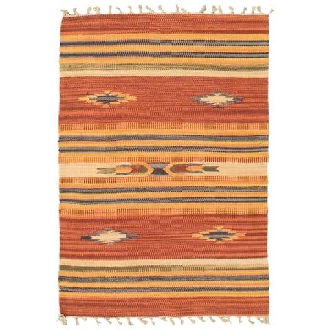 ECARPETGALLERY Flat-weave Bold and Colorful Red, Orange Wool Kilim - 2'0 x 3'0