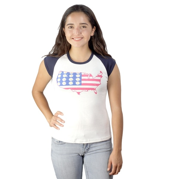 c37cd4c2501 Shop Soffe USA Country Flag Graphic Printed Front Women s fashion Clear  White T-shirt - Free Shipping On Orders Over  45 - Overstock.com - 17067385