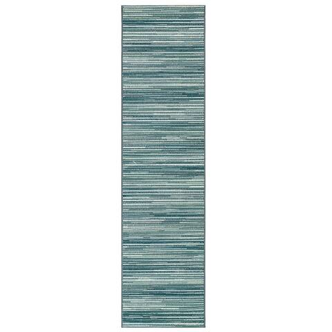 "Liora Manne Marina Stripes Indoor/Outdoor Rug Green 7'10"" x 9'10"""