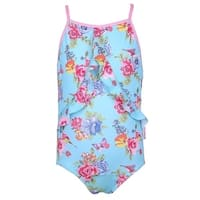Sun Emporium Baby Girls Blue Pink Blossom Print Racer Back Swimsuit