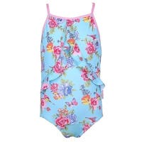 Sun Emporium Girls Blue Pink Blossom Print Racer Back Swimsuit