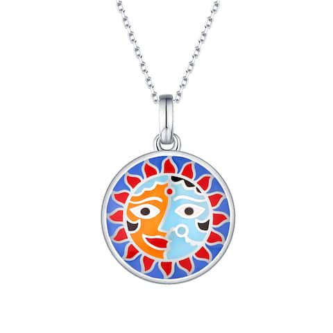 Vedantti Madhubani Art Multi Color Enamel Sun & Woman Devotee Pendant