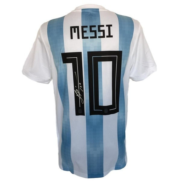a180f791473 Shop Lionel Messi Signed Adidas Argentina Home Soccer Jersey Messi ...