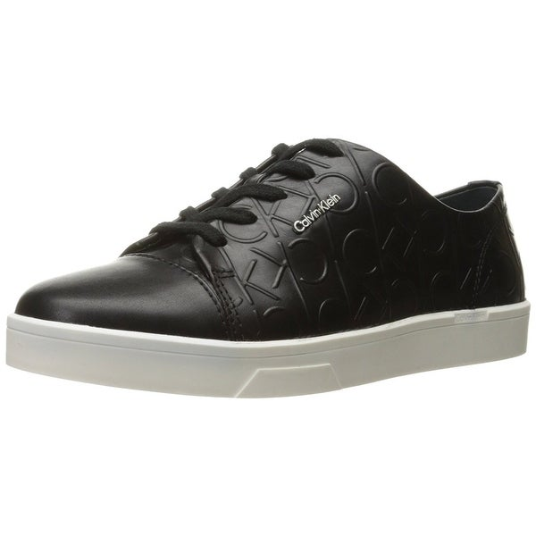Calvin Klein Womens Lmilia Leather Low Top Lace Up Fashion Sneakers