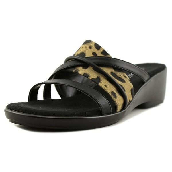 Aerosoles FlagShip Women Open Toe Canvas Black Slides Sandal