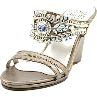 Love and Liberty Lotus Women Open Toe Canvas Silver Wedge Sandal