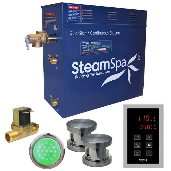 SteamSpa INT1200-A Indulgence 12 KW QuickStart Acu-Steam Bath Generator Package with Built-in Auto Drain and Touch Controller