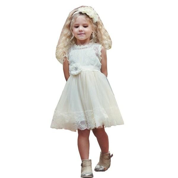 Think Pink Bows Baby Girls Ivory Sash Victorian Gardens Flower Girl Dress 12-18M